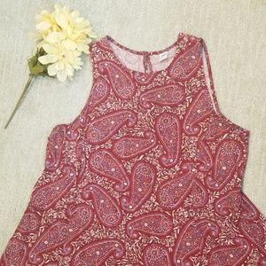Paisley print tank dress with keyhole back